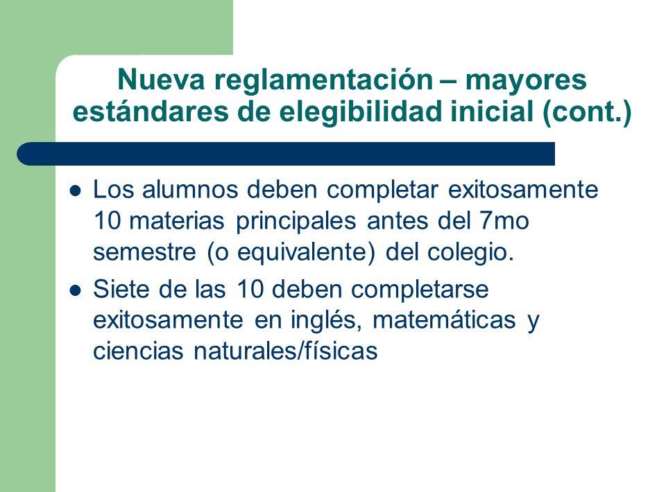Nueva reglamentación – mayores estándares de elegibilidad inicial (cont.) Los alumnos deben completar exitosamente 10 materias principales antes del 7