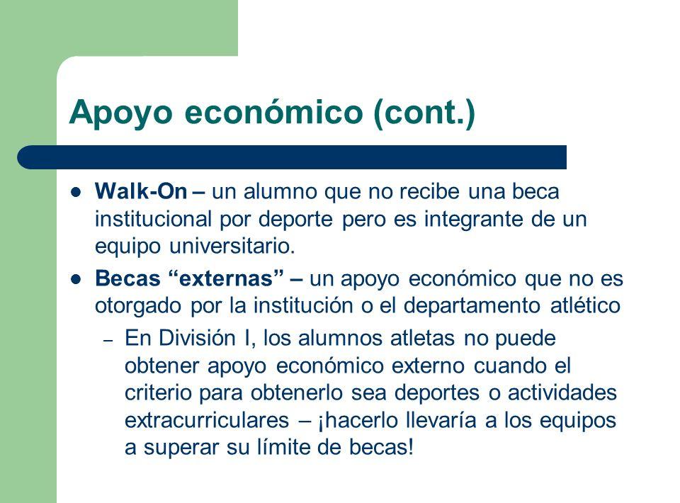 Apoyo económico (cont.) Walk-On – un alumno que no recibe una beca institucional por deporte pero es integrante de un equipo universitario. Becas exte