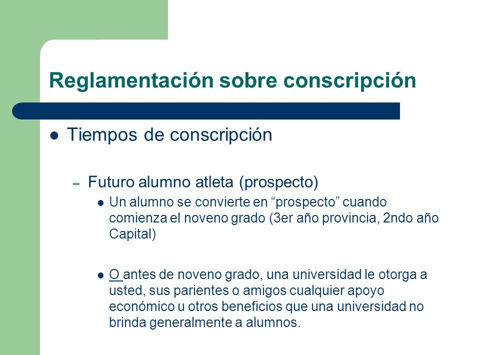 Reglamentación sobre conscripción Tiempos de conscripción – Futuro alumno atleta (prospecto) Un alumno se convierte en prospecto cuando comienza el no