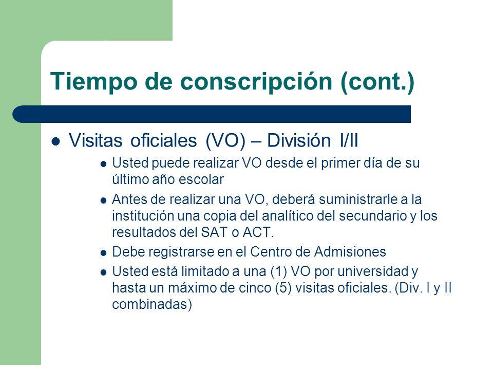 Tiempo de conscripción (cont.) Visitas oficiales (VO) – División I/II Usted puede realizar VO desde el primer día de su último año escolar Antes de re