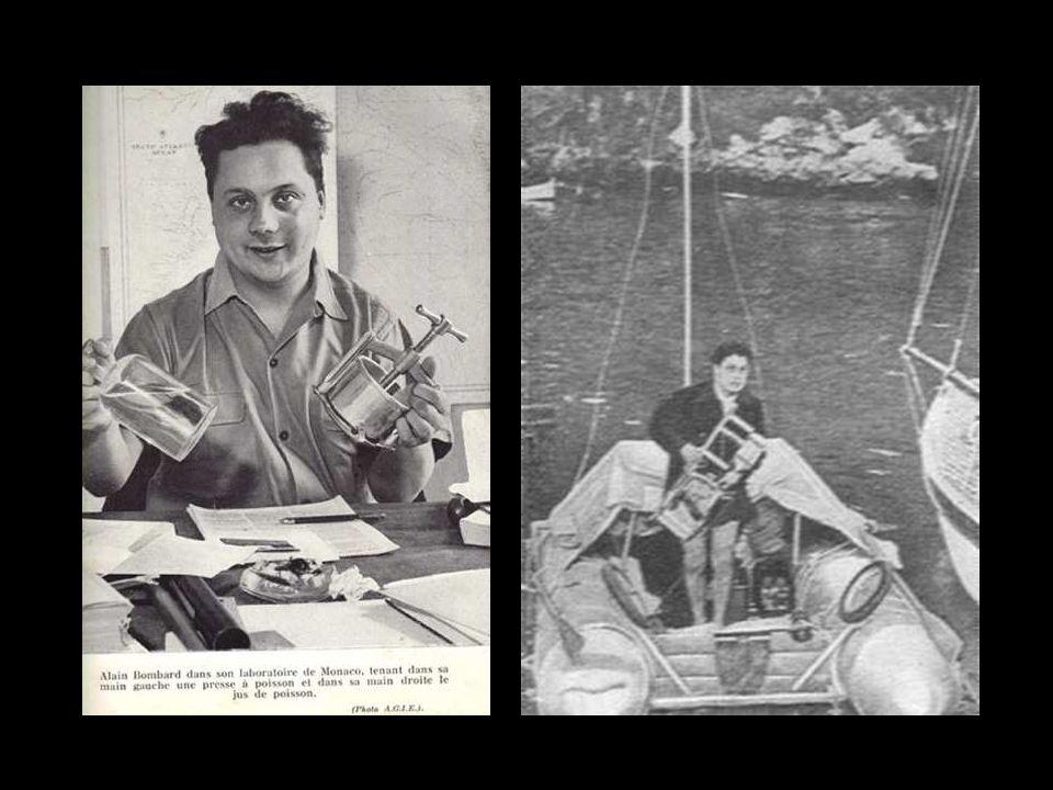 Para entrenarse antes de tirarse al mar Bombard aprendía a beber agua de mar. Sorbía agua de mar en pequeñas cantidades, para calmar la sed, sabiendo