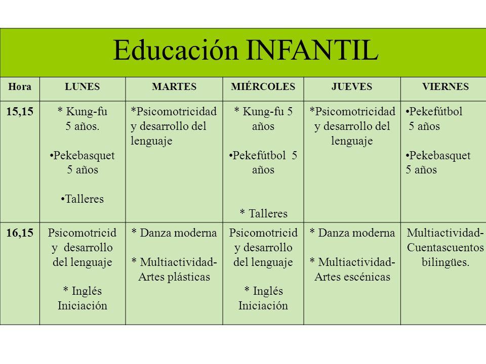 Educación INFANTIL HoraLUNESMARTESMIÉRCOLESJUEVESVIERNES 15,15* Kung-fu 5 años.