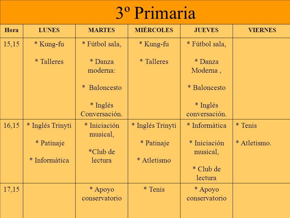 4º Primaria HoraLUNESMARTESMIÉRCOLESJUEVESVIERNES 15,15* Kung-fu * Talleres * Fútbol sala, * Danza moderna: * Baloncesto * Inglés Conversación.