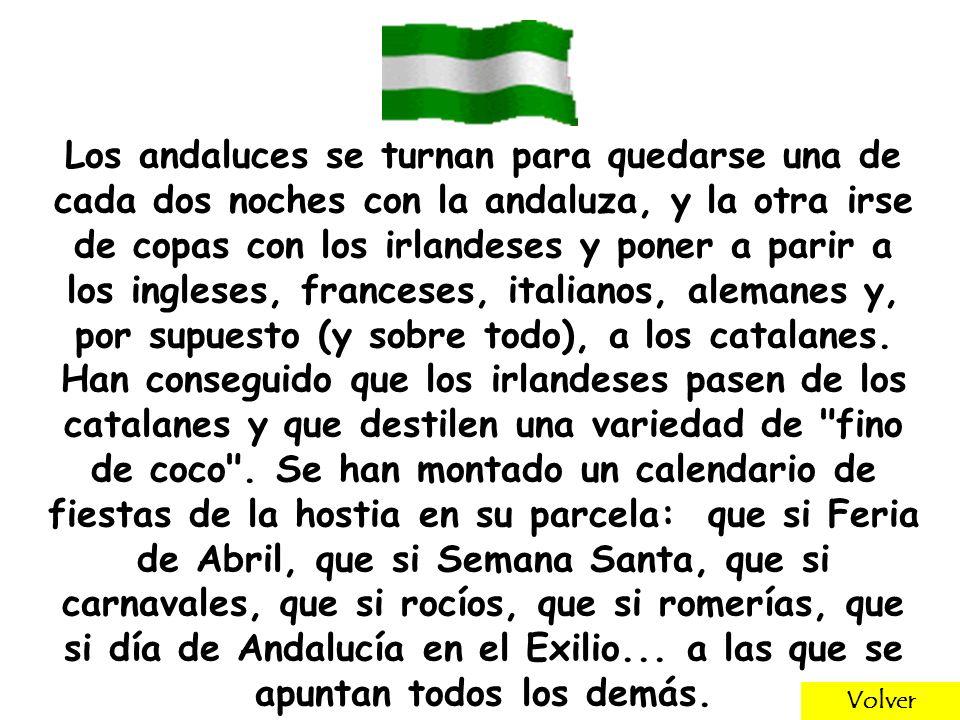 Los andaluces se turnan para quedarse una de cada dos noches con la andaluza, y la otra irse de copas con los irlandeses y poner a parir a los ingleses, franceses, italianos, alemanes y, por supuesto (y sobre todo), a los catalanes.