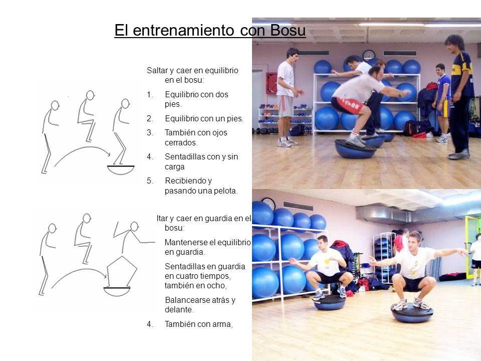 Saltar y caer en equilibrio en el bosu: 1.Equilibrio con dos pies. 2.Equilibrio con un pies. 3.También con ojos cerrados. 4.Sentadillas con y sin carg