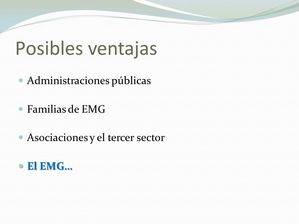 Posibles ventajas Administraciones públicas Familias de EMG Asociaciones y el tercer sector El EMG… El EMG…
