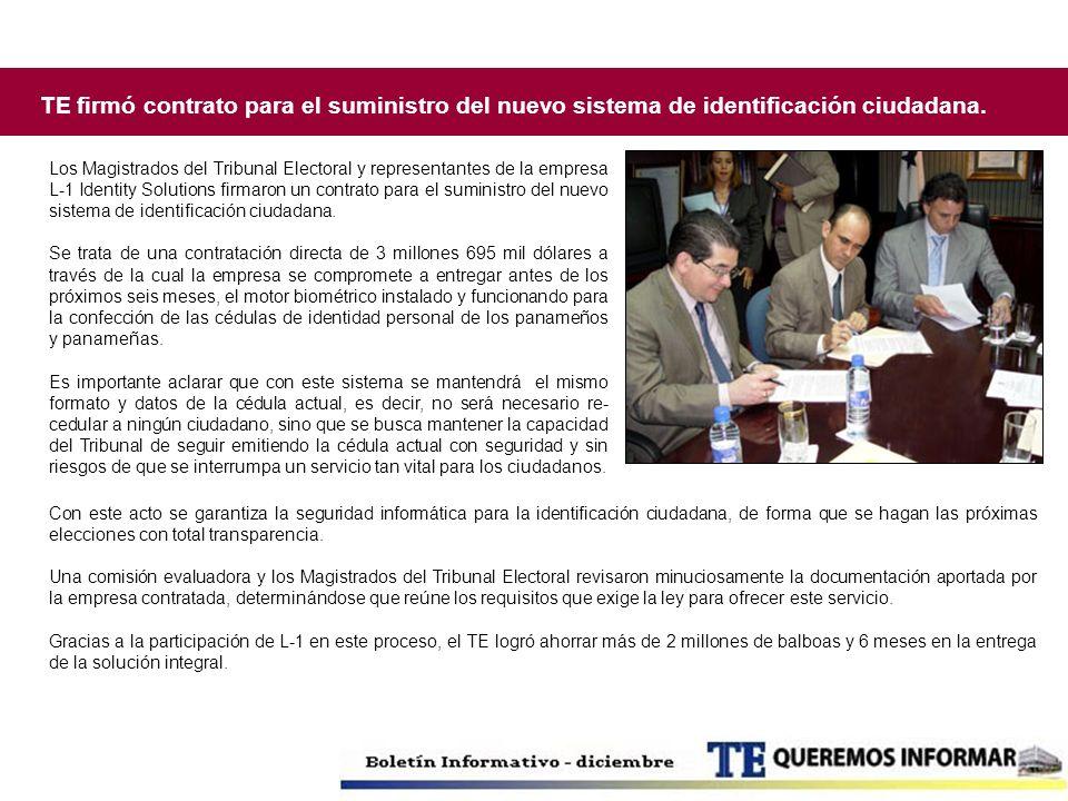 TE firmó contrato para el suministro del nuevo sistema de identificación ciudadana. Los Magistrados del Tribunal Electoral y representantes de la empr
