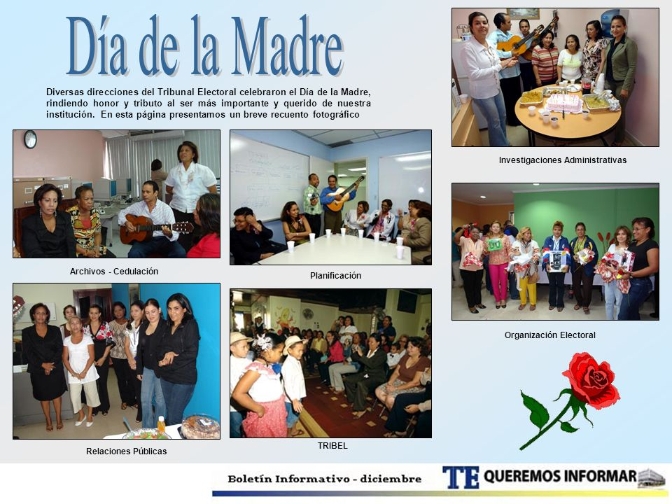 Diversas direcciones del Tribunal Electoral celebraron el Día de la Madre, rindiendo honor y tributo al ser más importante y querido de nuestra instit