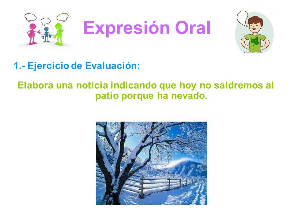 Expresión Oral 1.- Ejercicio de Evaluación: Elabora una noticia indicando que hoy no saldremos al patio porque ha nevado.