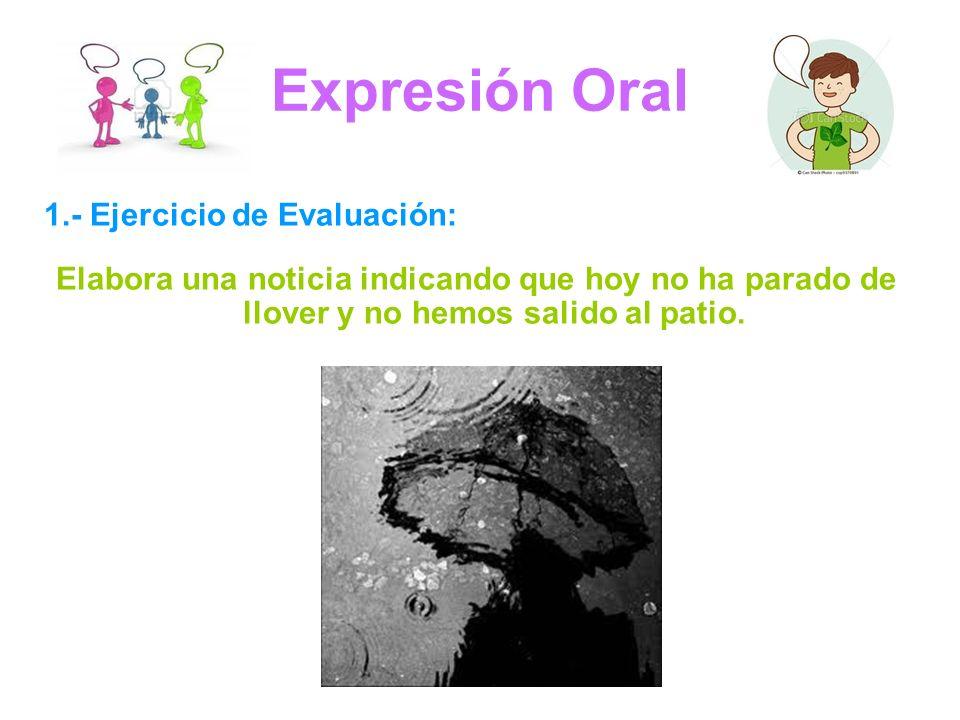 Expresión Oral 1.- Ejercicio de Evaluación: Elabora una noticia indicando que hoy no ha parado de llover y no hemos salido al patio.