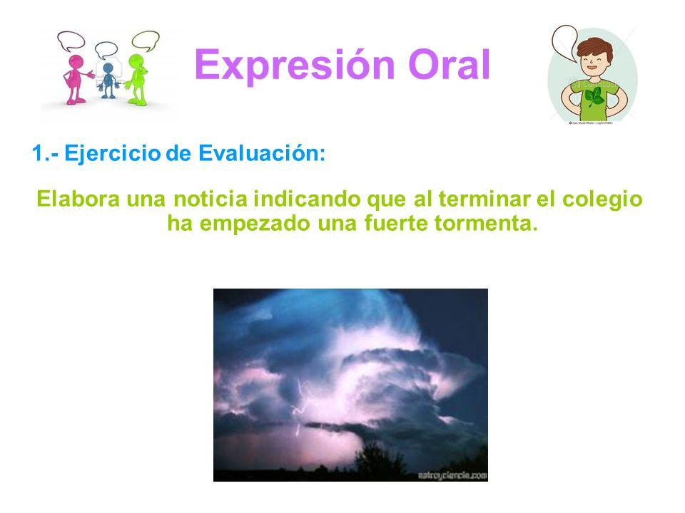 Expresión Oral 1.- Ejercicio de Evaluación: Elabora una noticia indicando que al terminar el colegio ha empezado una fuerte tormenta.