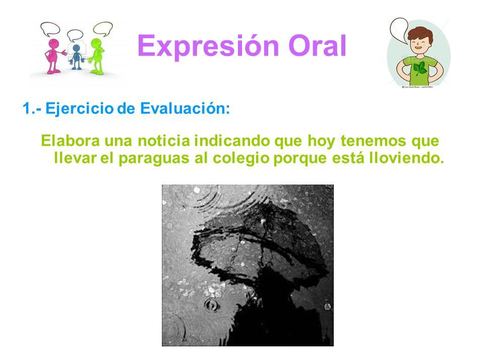 Expresión Oral 1.- Ejercicio de Evaluación: Elabora una noticia indicando que hoy tenemos que llevar el paraguas al colegio porque está lloviendo.