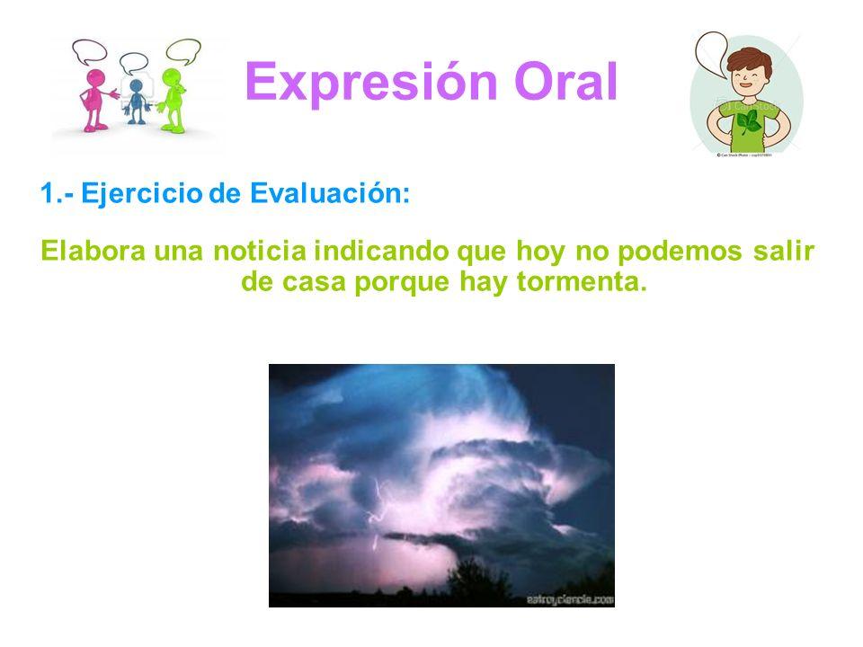 Expresión Oral 1.- Ejercicio de Evaluación: Elabora una noticia indicando que hoy no podemos salir de casa porque hay tormenta.