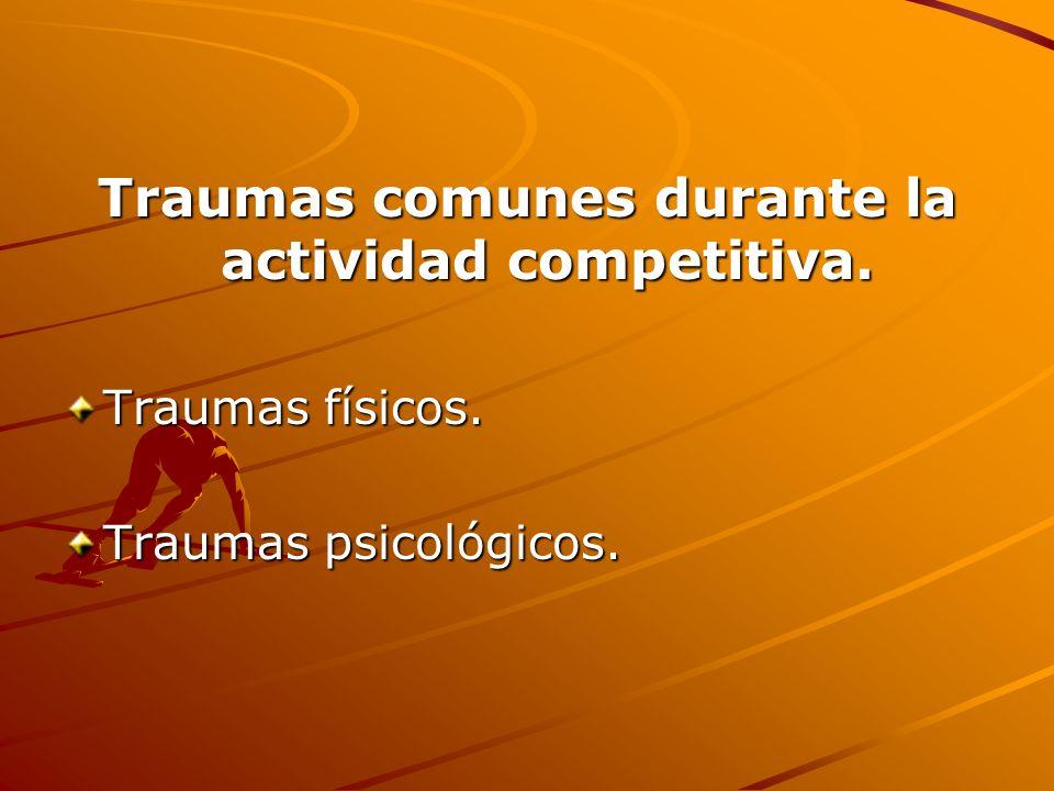 Traumas comunes durante la actividad competitiva. Traumas físicos. Traumas psicológicos.