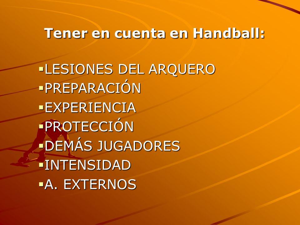 Tener en cuenta en Handball: Tener en cuenta en Handball: LESIONES DEL ARQUERO LESIONES DEL ARQUERO PREPARACIÓN PREPARACIÓN EXPERIENCIA EXPERIENCIA PR