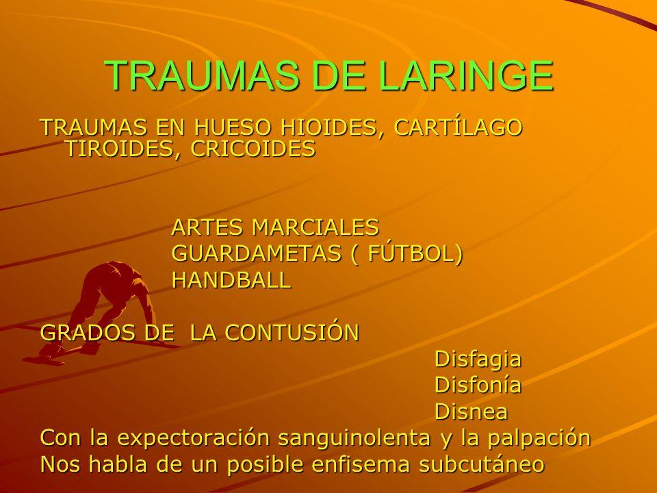 TRAUMAS DE LARINGE TRAUMAS EN HUESO HIOIDES, CARTÍLAGO TIROIDES, CRICOIDES ARTES MARCIALES GUARDAMETAS ( FÚTBOL) HANDBALL GRADOS DE LA CONTUSIÓN Disfa
