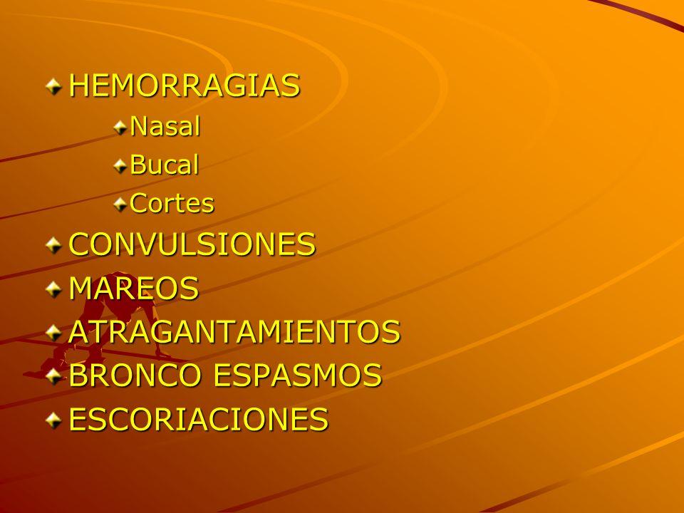 HEMORRAGIASNasalBucalCortesCONVULSIONESMAREOSATRAGANTAMIENTOS BRONCO ESPASMOS ESCORIACIONES