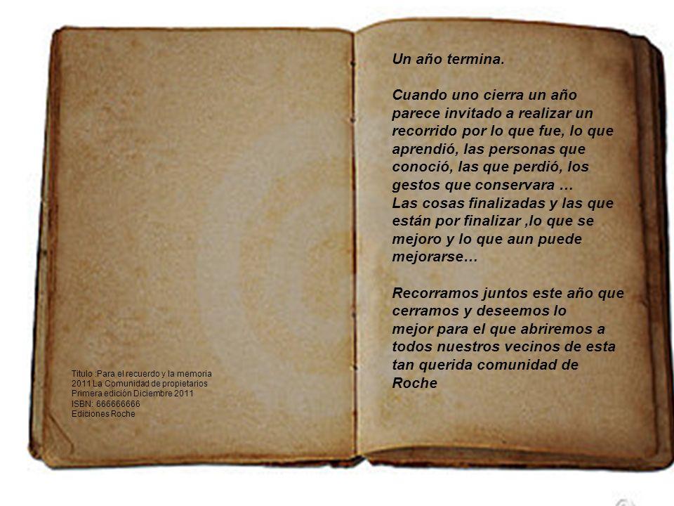 PARA EL RECUERDO Y LA MEMORIA ROCHE 2011 1º Edición