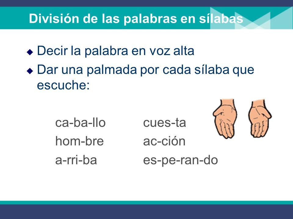 División de las palabras en sílabas Decir la palabra en voz alta Dar una palmada por cada sílaba que escuche: ca-ba-llocues-ta hom-breac-ción a-rri-baes-pe-ran-do