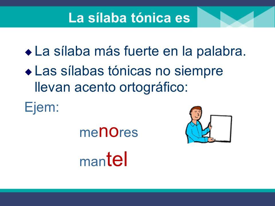 La sílaba tónica es La sílaba más fuerte en la palabra.