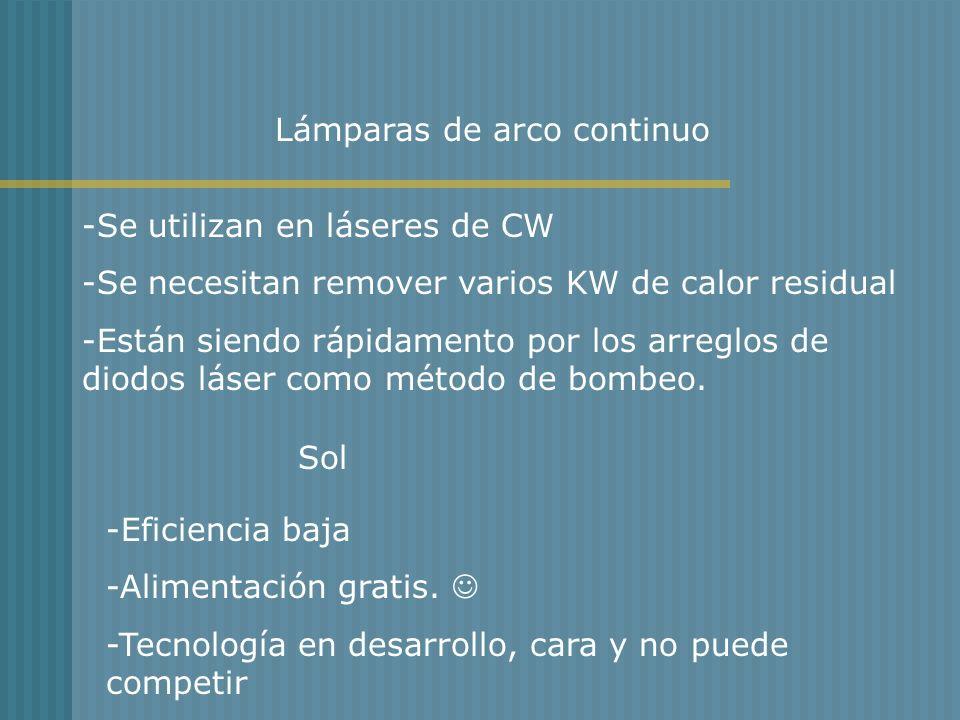 Lámparas de arco continuo -Se utilizan en láseres de CW -Se necesitan remover varios KW de calor residual -Están siendo rápidamento por los arreglos d