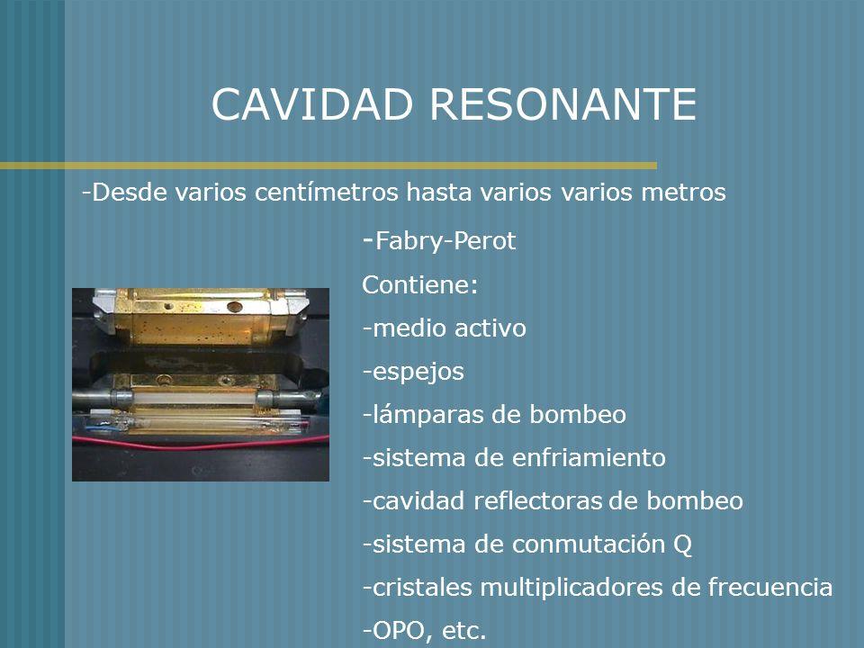 CAVIDAD RESONANTE -Desde varios centímetros hasta varios varios metros - Fabry-Perot Contiene: -medio activo -espejos -lámparas de bombeo -sistema de