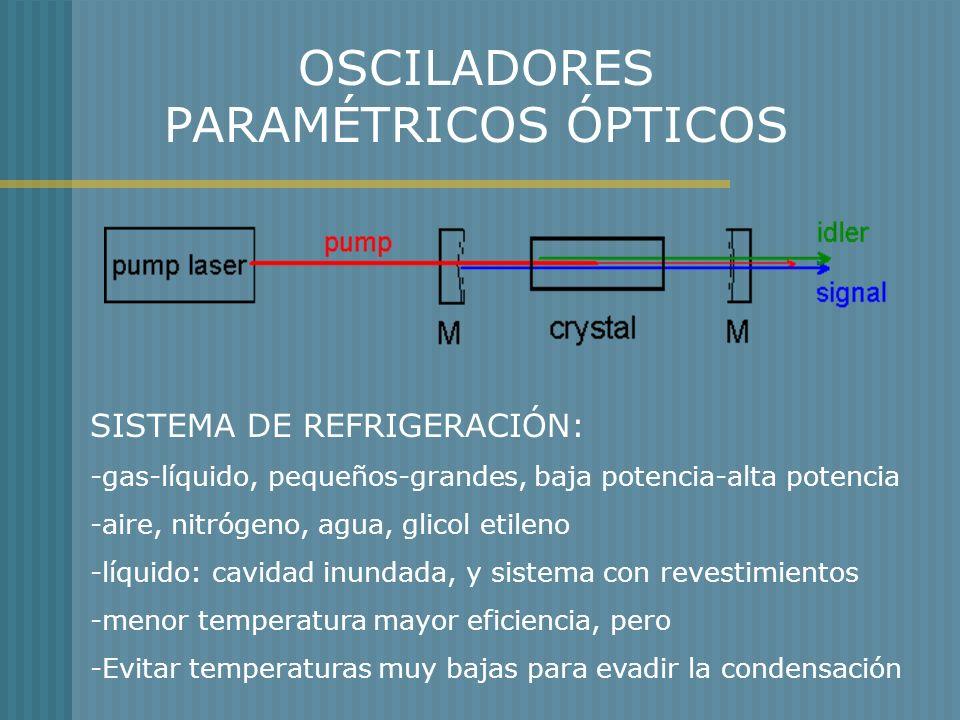 OSCILADORES PARAMÉTRICOS ÓPTICOS SISTEMA DE REFRIGERACIÓN: -gas-líquido, pequeños-grandes, baja potencia-alta potencia -aire, nitrógeno, agua, glicol