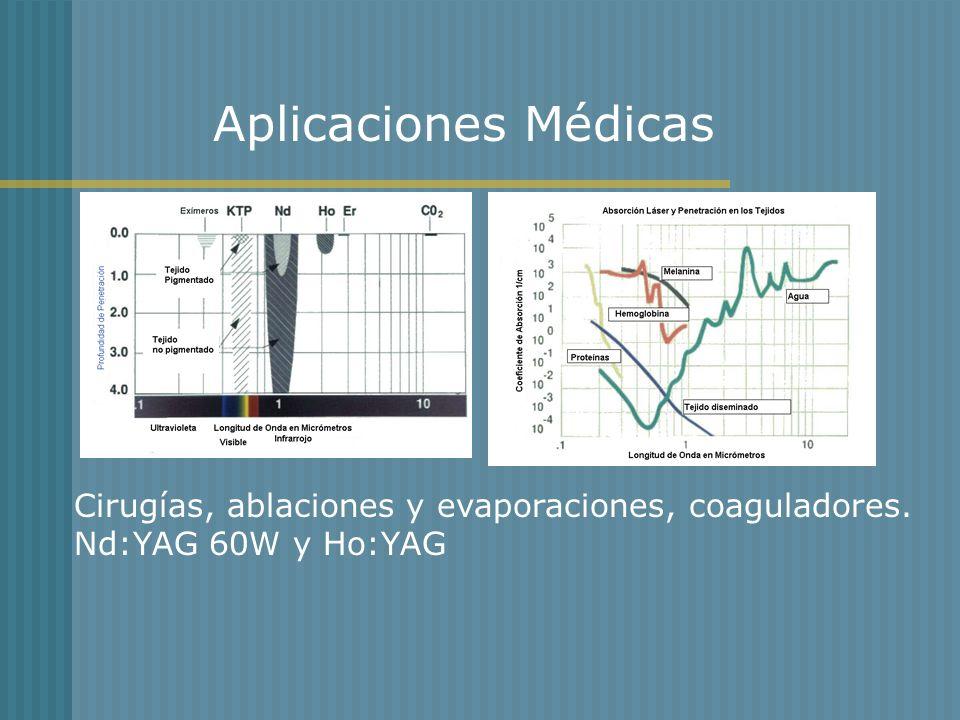 Aplicaciones Médicas Cirugías, ablaciones y evaporaciones, coaguladores. Nd:YAG 60W y Ho:YAG