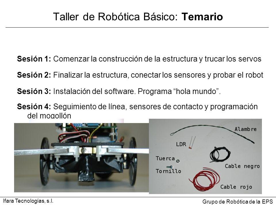 Sesión 1: Comenzar la construcción de la estructura y trucar los servos Taller de Robótica Básico: Temario Ifara Tecnologías, s.l. Grupo de Robótica d