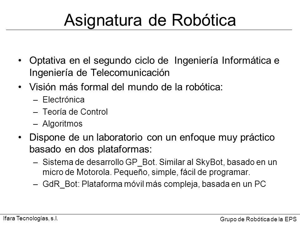 Asignatura de Robótica Optativa en el segundo ciclo de Ingeniería Informática e Ingeniería de Telecomunicación Visión más formal del mundo de la robót