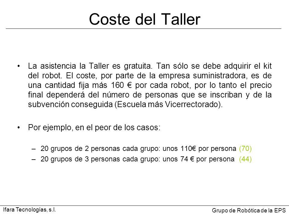 Coste del Taller La asistencia la Taller es gratuita. Tan sólo se debe adquirir el kit del robot. El coste, por parte de la empresa suministradora, es