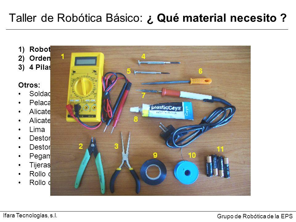 Taller de Robótica Básico: ¿ Qué material necesito ? 1)Robot ( Suministrado al matricularse del curso): SKYBOT v1.2. 2)Ordenador con puerto serie 3)4