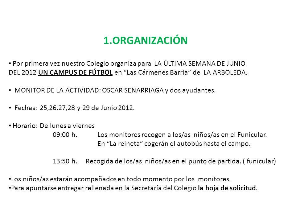 1.ORGANIZACIÓN Por primera vez nuestro Colegio organiza para LA ÚLTIMA SEMANA DE JUNIO DEL 2012 UN CAMPUS DE FÚTBOL en Las Cármenes Barria de LA ARBOL