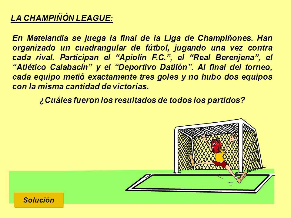LA CHAMPIÑÓN LEAGUE: Solución En Matelandia se juega la final de la Liga de Champiñones. Han organizado un cuadrangular de fútbol, jugando una vez con