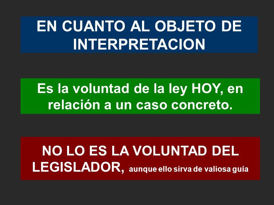 EN CUANTO AL OBJETO DE INTERPRETACION Es la voluntad de la ley HOY, en relación a un caso concreto. NO LO ES LA VOLUNTAD DEL LEGISLADOR, aunque ello s