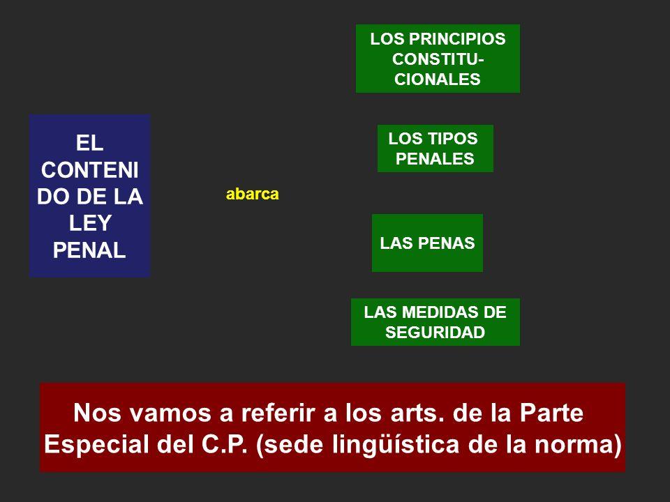 EL CONTENI DO DE LA LEY PENAL LOS PRINCIPIOS CONSTITU- CIONALES LOS TIPOS PENALES LAS PENAS LAS MEDIDAS DE SEGURIDAD Nos vamos a referir a los arts.