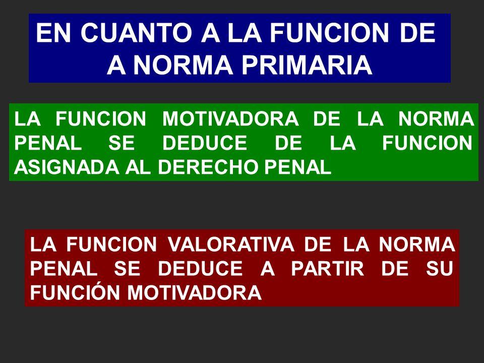 LA FUNCION MOTIVADORA DE LA NORMA PENAL SE DEDUCE DE LA FUNCION ASIGNADA AL DERECHO PENAL EN CUANTO A LA FUNCION DE A NORMA PRIMARIA LA FUNCION VALORATIVA DE LA NORMA PENAL SE DEDUCE A PARTIR DE SU FUNCIÓN MOTIVADORA