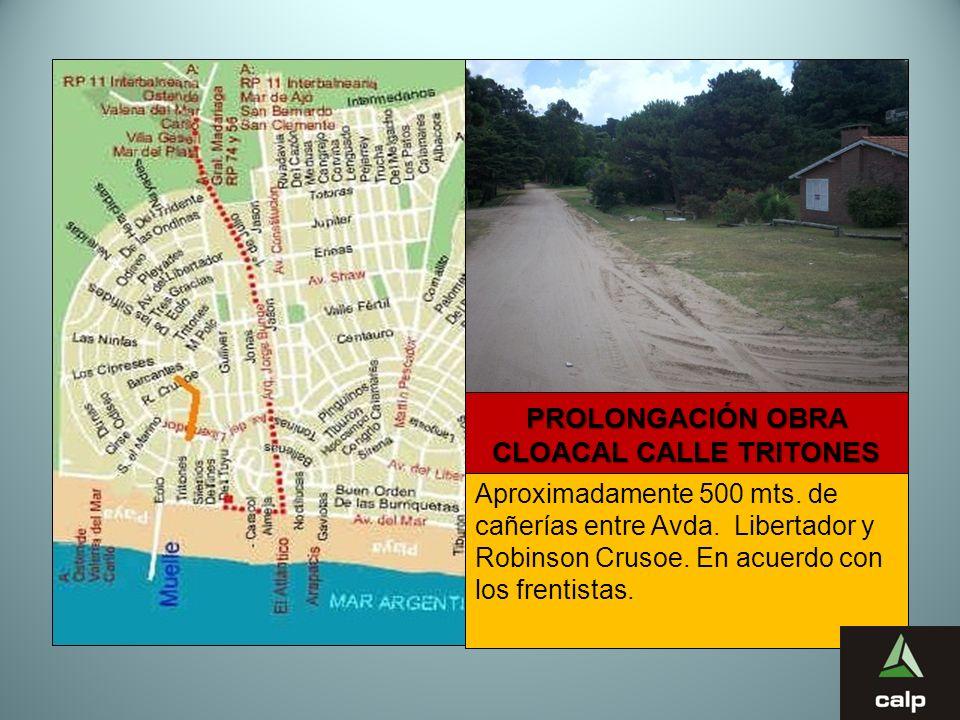13 PROLONGACIÓN OBRA CLOACAL CALLE TRITONES Aproximadamente 500 mts. de cañerías entre Avda. Libertador y Robinson Crusoe. En acuerdo con los frentist