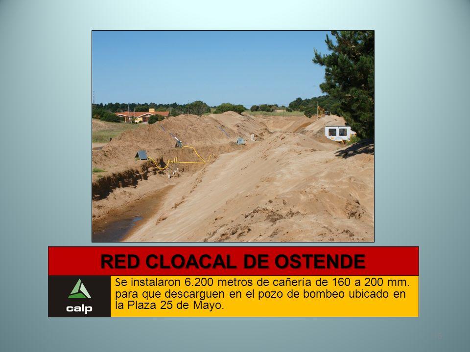 15 RED CLOACAL DE OSTENDE S e instalaron 6.200 metros de cañería de 160 a 200 mm. para que descarguen en el pozo de bombeo ubicado en la Plaza 25 de M