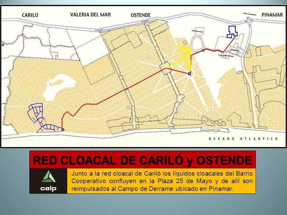 17 RED CLOACAL DE CARILÓ y OSTENDE Junto a la red cloacal de Cariló los líquidos cloacales del Barrio Cooperativo confluyen en la Plaza 25 de Mayo y d