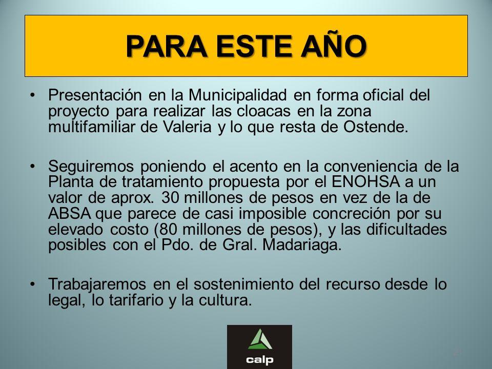 21 PARA ESTE AÑO Presentación en la Municipalidad en forma oficial del proyecto para realizar las cloacas en la zona multifamiliar de Valeria y lo que