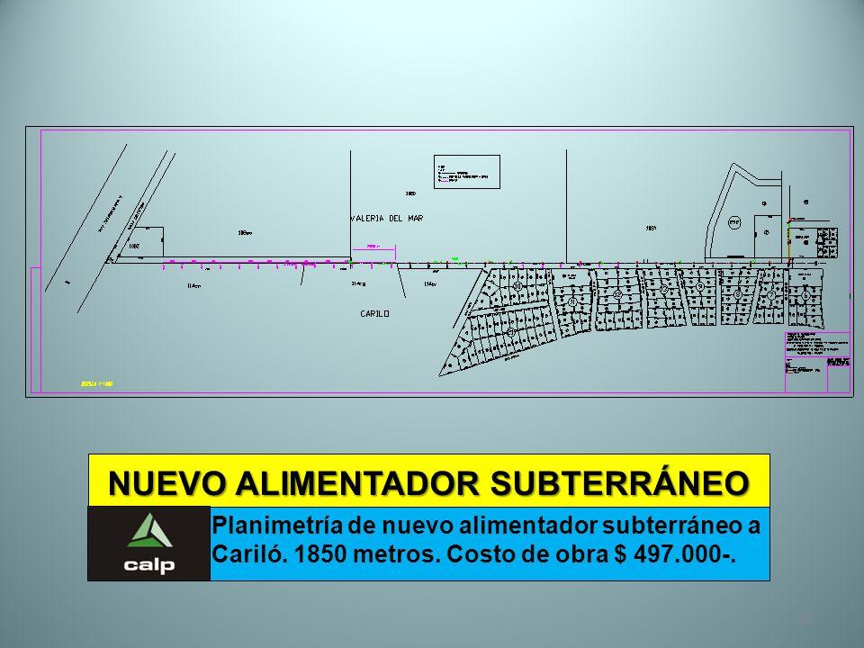 32 NUEVO ALIMENTADOR SUBTERRÁNEO Planimetría de nuevo alimentador subterráneo a Cariló. 1850 metros. Costo de obra $ 497.000-.