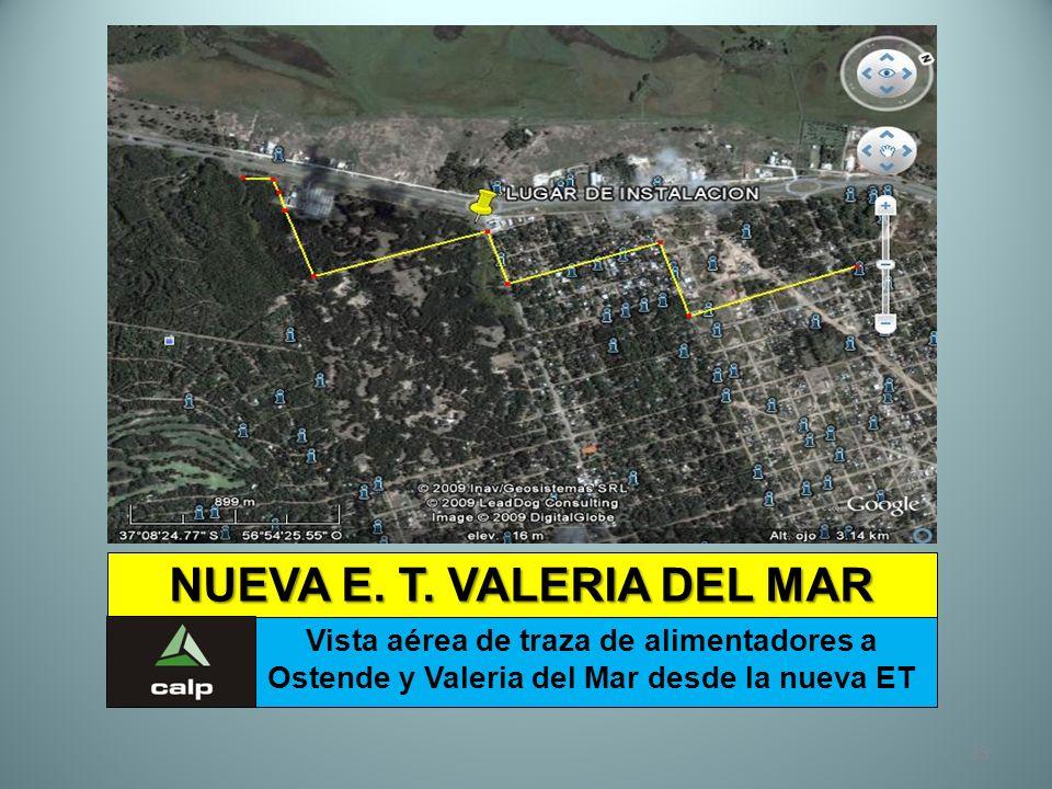 33 NUEVA E. T. VALERIA DEL MAR Vista aérea de traza de alimentadores a Ostende y Valeria del Mar desde la nueva ET