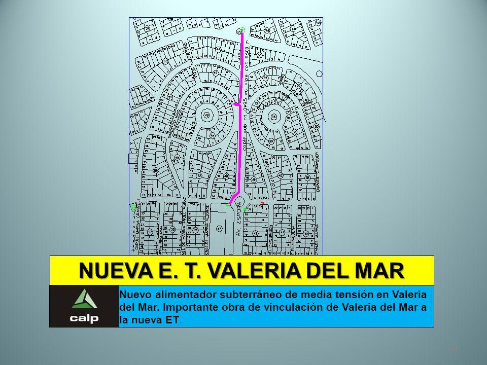 34 NUEVA E. T. VALERIA DEL MAR Nuevo alimentador subterráneo de media tensión en Valeria del Mar. Importante obra de vinculación de Valeria del Mar a