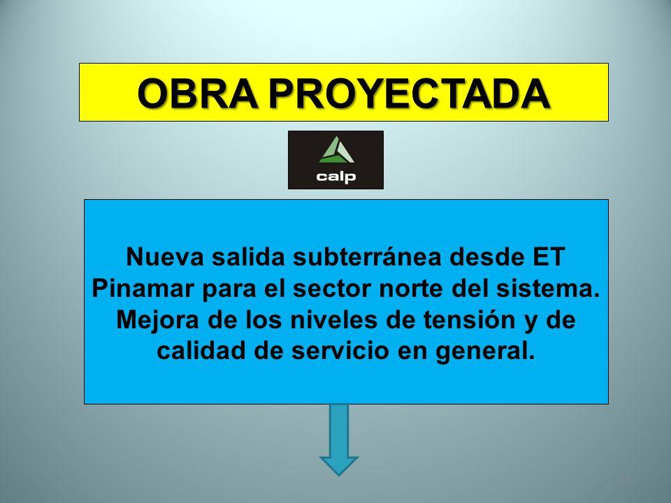37 OBRA PROYECTADA Nueva salida subterránea desde ET Pinamar para el sector norte del sistema. Mejora de los niveles de tensión y de calidad de servic