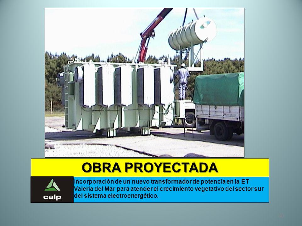 40 OBRA PROYECTADA Incorporación de un nuevo transformador de potencia en la ET Valeria del Mar para atender el crecimiento vegetativo del sector sur