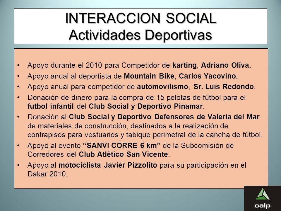 44 INTERACCION SOCIAL Actividades Deportivas Apoyo durante el 2010 para Competidor de karting, Adriano Oliva. Apoyo anual al deportista de Mountain Bi