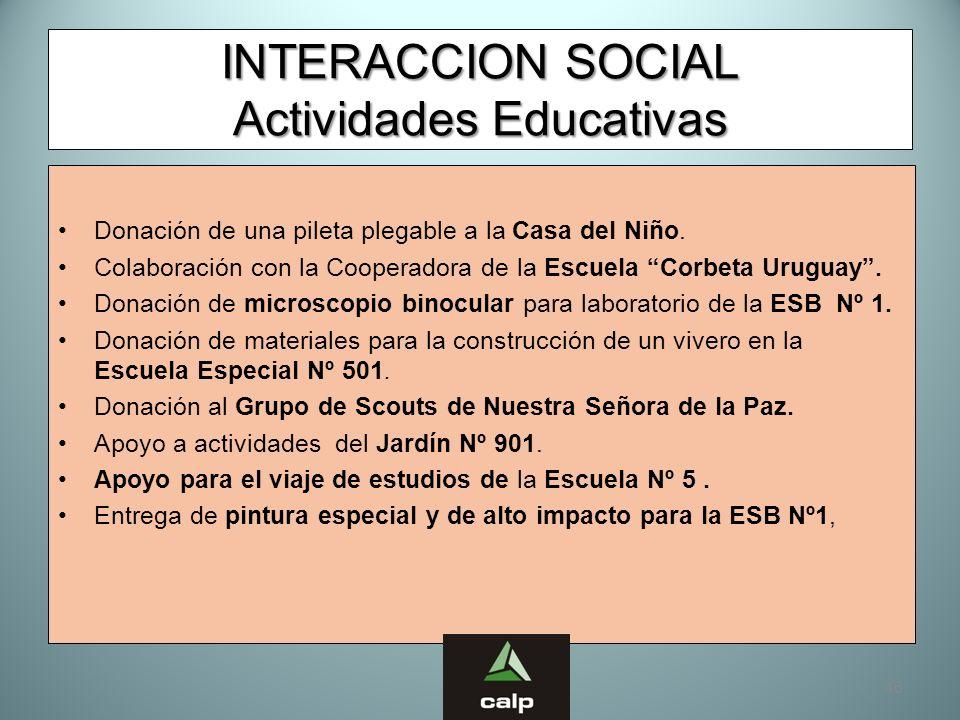 46 INTERACCION SOCIAL Actividades Educativas Donación de una pileta plegable a la Casa del Niño. Colaboración con la Cooperadora de la Escuela Corbeta