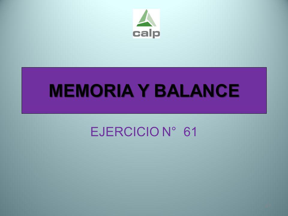 47 MEMORIA Y BALANCE EJERCICIO N° 61