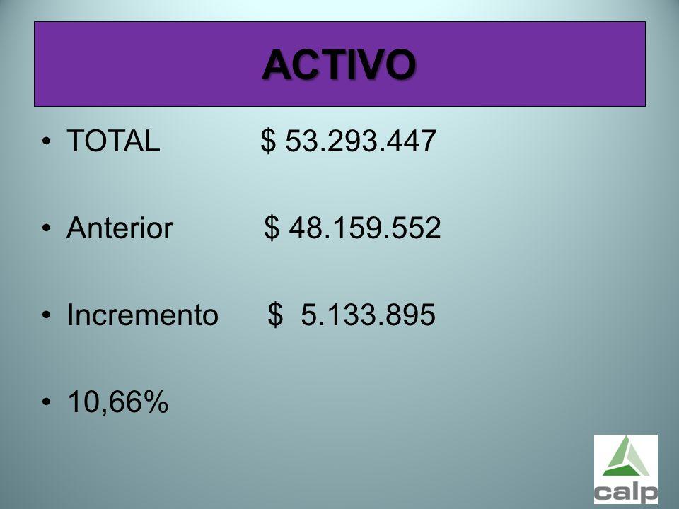 48 ACTIVO TOTAL $ 53.293.447 Anterior $ 48.159.552 Incremento $ 5.133.895 10,66%